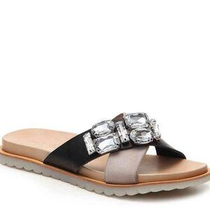 NEW Charles David Black Embellished Leather Sandal